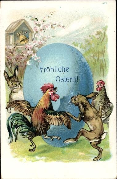Präge Ak Glückwunsch Ostern, Osterhasen und Hühner tanzen um Osterei