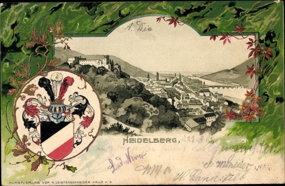 Präge Wappen Litho Heidelberg am Neckar, Schloss, Stadtpanorama