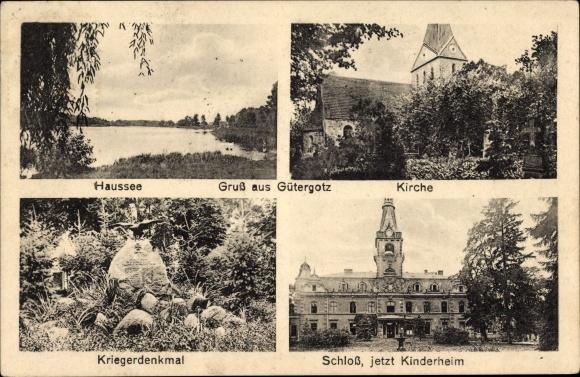 Ak Güterfelde Stahnsdorf Potsdam Mittelmark Brandenburg, Gütergotz, Schloss, Kirche, Haussee