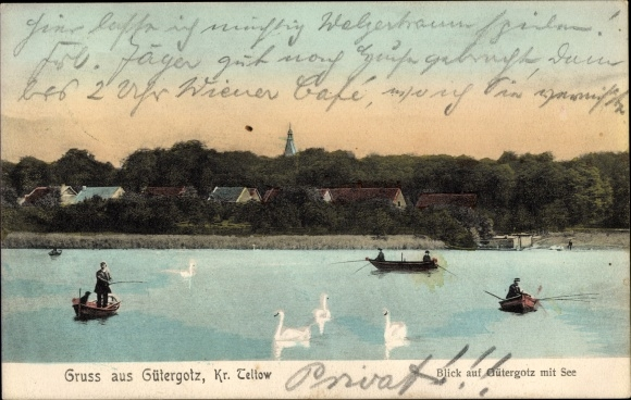 Ak Güterfelde Stahnsdorf Potsdam Mittelmark Brandenburg, Gütergotz, See, Angler