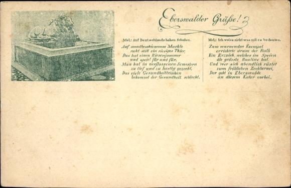 Ak Eberswalde in Brandenburg, Löwenbrunnnen auf dem Marktplatz, Gedicht