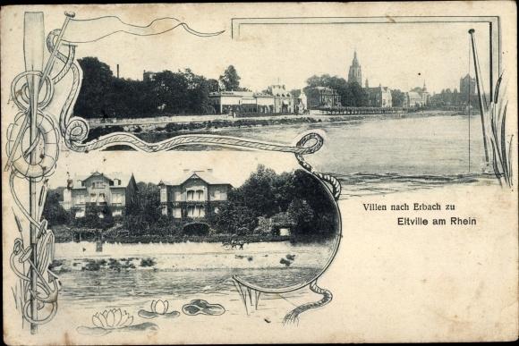 Ak Eltville am Rhein Hessen, Villen, Erbach, Ortsansichten