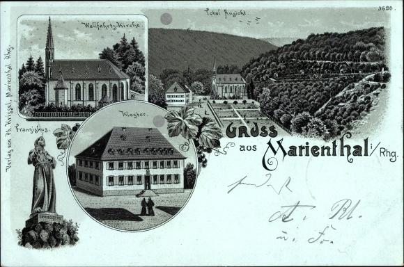 Mondschein Litho Marienthal Geisenheim in Hessen, Wallfahrtskirche, Kloster, Franziskus
