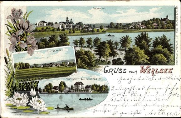 Litho Grünheide in der Mark, Werlsee, Gottesbrück, Restaurant zum Dampfschiff