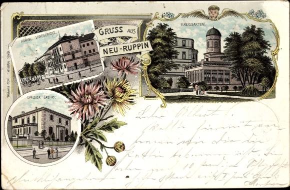 Litho Neuruppin in Brandenburg, Kreisgarten, Offizierskasino, Landgericht
