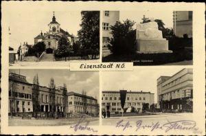 Ak Eisenstadt im Burgenland, Liszt Denkmal, Landhaus, Stadtansichten