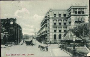 Ak Colombo Ceylon Sri Lanka, York Street from Jetty