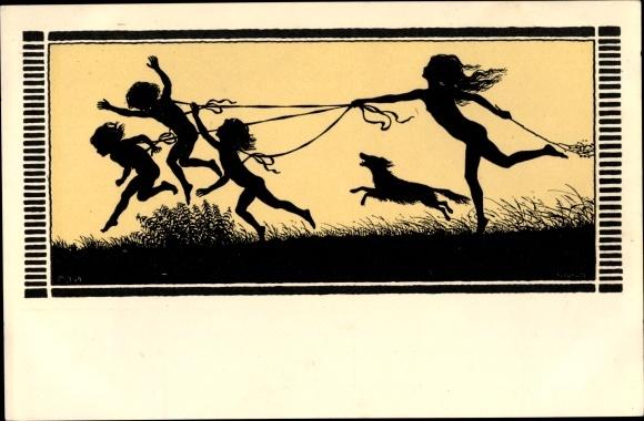 Künstler Scherenschnitt Ak Fidus, Frühlingslust, spielende Kinder, Hund