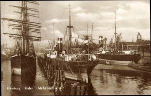 Ak Hamburg, Partie am Hafen, Afrikahoeft, Segelschiff, Dampfer Sesara und Harburg