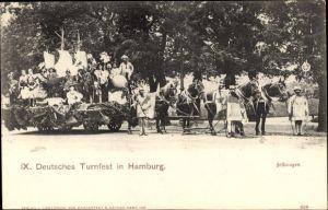 Ak Hamburg, IX. Deutsches Turnfest, geschmückter Festwagen