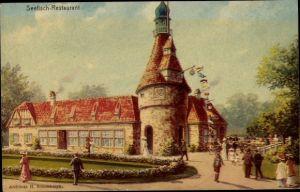 Ak Hamburg, 16. Deutsches Bundesschießen 1909, Seefisch Restaurant, Arch H. Schomburgk