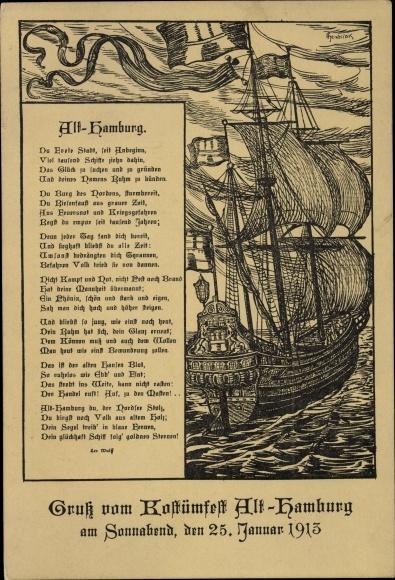 Künstler Ak Hamburg, Kostümfest 1913, Gedicht von Leo Wolf ...