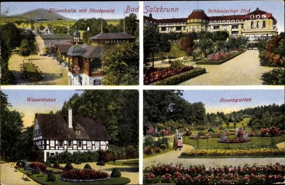 Ak Szczawno Zdrój Bad Salzbrunn Schlesien, Elisenhalle, Wiesenhaus, Rosengarten, Schlesischer Hof