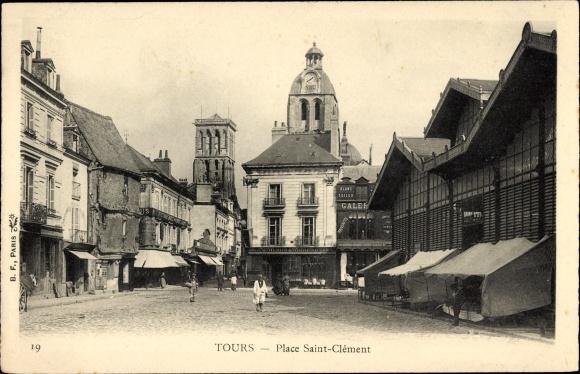 Ak Tours Indre et Loire, Place Saint Clément