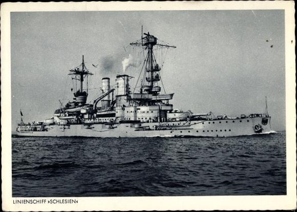 Ak Deutsches Kriegsschiff, Linienschiff Schlesien, Kaiserliche Marine