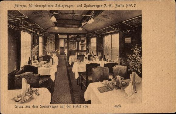 Ak Deutsche Reichsbahn, Speisewagen der Mitropa, Mitteleuropäische Schlafwagen- und Speisewagen AG