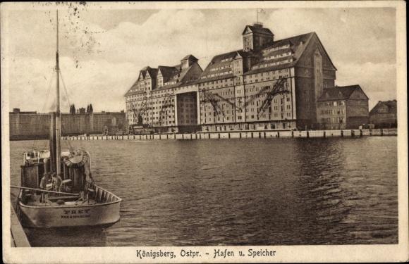 Ak Kaliningrad Königsberg Ostpreußen, Hafen, Speicher, Boot Frey