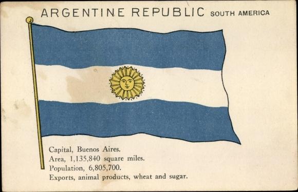 Ak Argentinien, Flagge, Sonne, Sol de Mayo, Buenos Aires