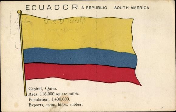 Ak Ecuador, Bürgerliche Flagge, Quito