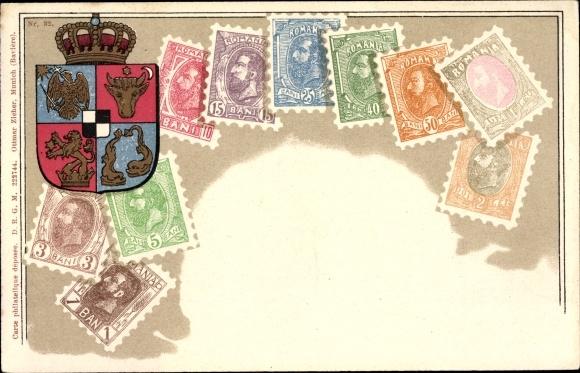 Briefmarken Litho Rumänien, Wappen, Bani, Karl I.