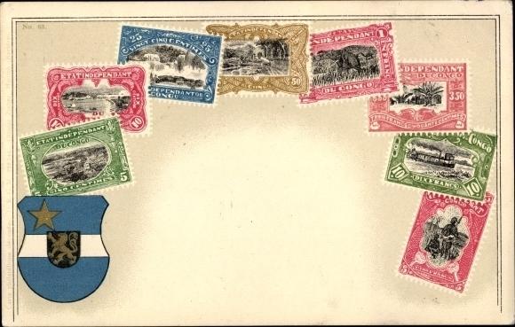 Briefmarken Litho DR Kongo, État indépendant du Congo, Wappen