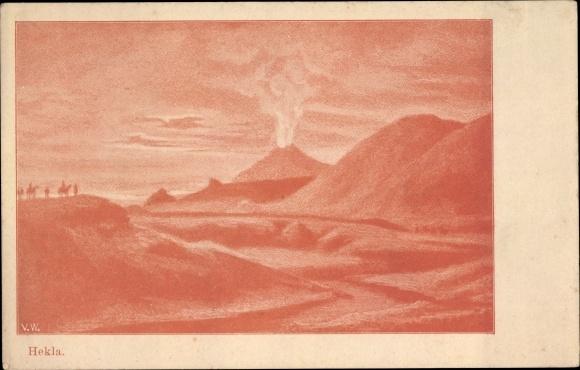 Künstler Ak Island, Vulkan Hekla, Landschaft