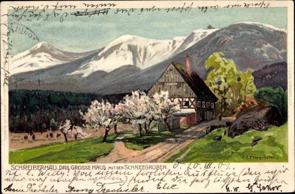 Künstler Litho Morgenstern, Szklarska Poręba Schreiberhau Riesengebirge Schlesien, Großes Haus