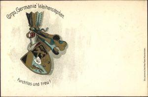 Ak Weihenstephan Freising in Oberbayern, Corps Germania, Furchtlos und treu