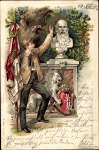 Präge Litho Büste Turnvater Friedrich Ludwig Jahn, Turner