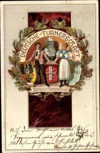 Präge Litho Deutsche Turnerschaft, Turnergruß, Turnvater Friedrich Ludwig Jahn, Eichenlaub