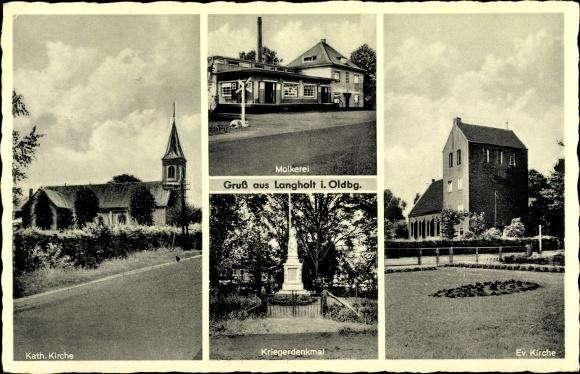 Ak Langholt Leer in Niedersachsen, Kath. Kirche, Ev. Kirche, Molkerei, Kriegerdenkmal