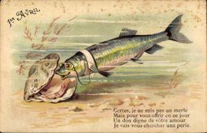 Litho 1. April, 1er Avril, Fisch mit Monokel schaut in eine Muschel