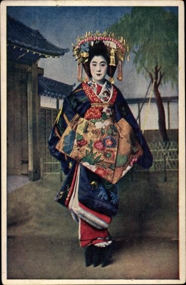 Ak Japan, Japanerin im Kimono, Kopfschmuck, Geisha