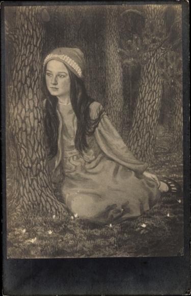 Jugendstil Künstler Ak Fidus, Tochter des Künstlers, Mädchen im Wald