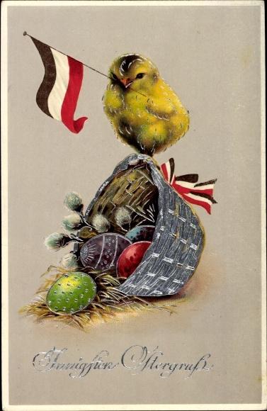 Präge Ak Glückwunsch Ostern, Küken mit Fahne, Korb, Ostereier, Weidenkätzchen