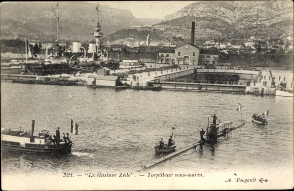 Ak Französisches Kriegsschiff, Le Gustave Zéde, Torpilleur Sous Marin, Französisches U Boot
