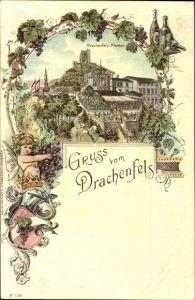 Litho Königswinter am Rhein, Teilansicht vom Ort, Drachenfelsplateau, Gebäude
