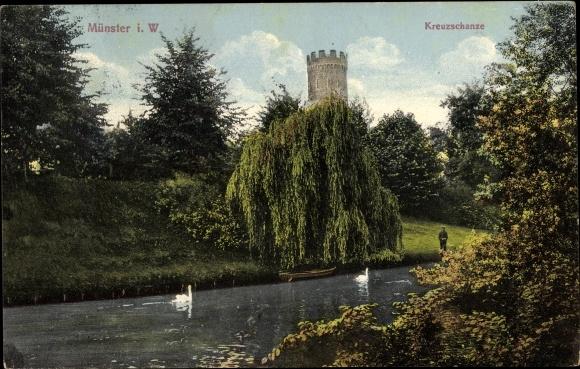 Ak Münster in Westfalen, Kreuzschanze, Parkpartie, Turm, Schwäne