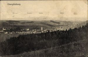 Ak Obergünzburg im Ostallgäu, Panorama vom Ort, Berge Klammspitze, Kreuzspitze, Zugspitze, Säuling