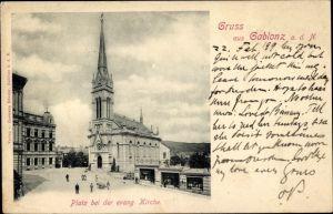 Ak Jablonec nad Nisou Gablonz an der Neiße Reg. Reichenberg, Platz, Evangelische Kirche