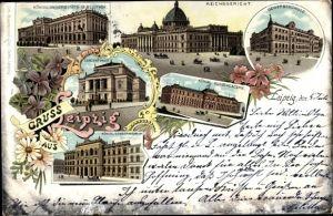Litho Leipzig in Sachsen, Konzerthaus, Konservatorium, Kunstakademie, Gewerbeschule, Reichsgericht