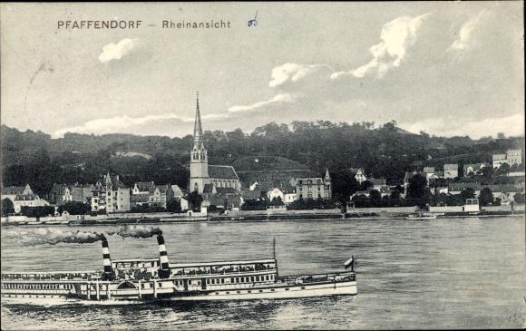 Ak Pfaffendorf Koblenz, Rheinansicht, Rheindampfer, Kirche, Wohnhäuser