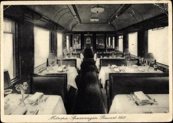 Ak Deutsche Eisenbahn, Mitropa Speisewagen, Bauart 1929, Innenansicht
