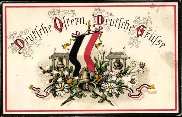 Passepartout Ak Glückwunsch Ostern, Fahne d. Kaiserreichs, Glocken, Margeriten, Weidenkätzchen