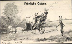 Künstler Ak Glückwunsch Ostern, Osterhasen, Lammgespann, Küken