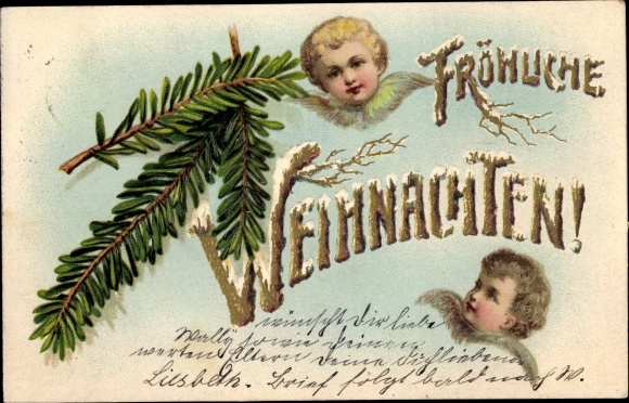 Präge Gold Ak Frohe Weihnachten, Engel, Tannenzweige, Schnee