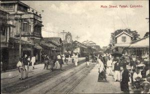 Ak Colombo Ceylon Sri Lanka, Main Street, Pettah, Passanten