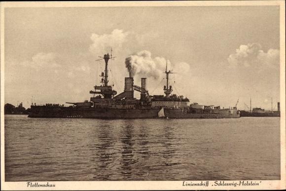 Ak Deutsches Kriegsschiff, Linienschiff Schleswig Holstein, Kaiserliche Marine