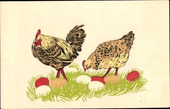Präge Ak Hühner, Eier, Ostern