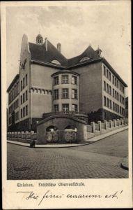 Ak Lutherstadt Eisleben in Sachsen Anhalt, Städtische Oberrealschule, Außenansicht